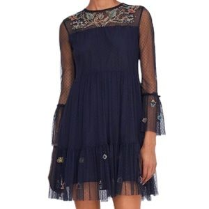 Zara Floral Embroidered Mesh Tulle Mini Dress M